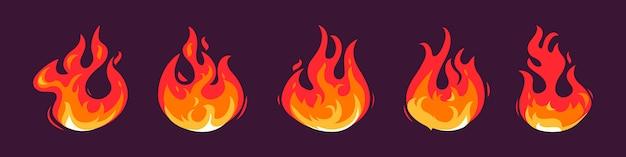 Coleção de ícones de fogo plano.