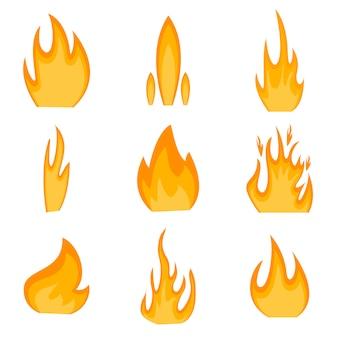 Coleção de ícones de fogo.