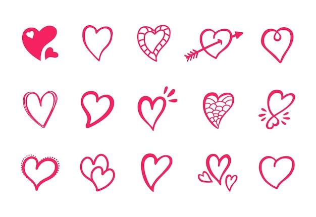 Coleção de ícones de formas de amor e corações desenhados à mão