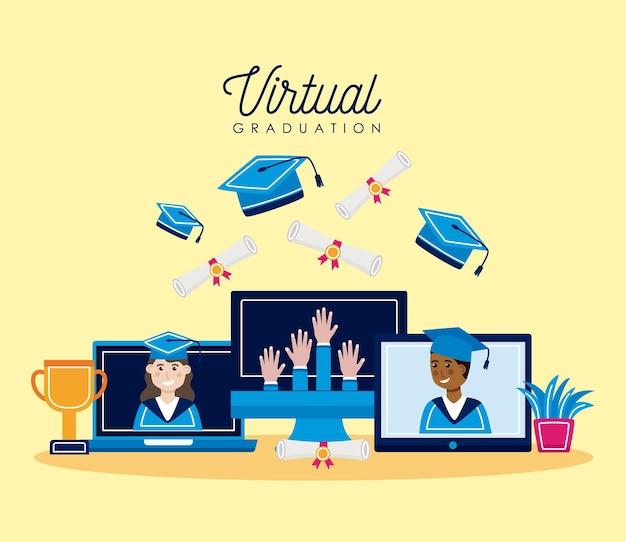 Coleção de ícones de formatura virtual