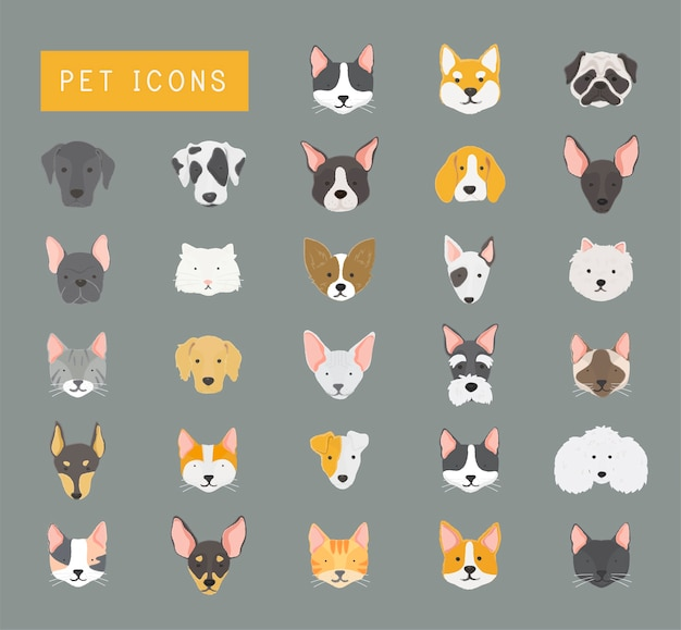 Coleção de ícones de gatos e cães