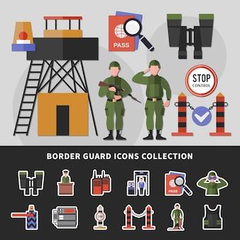 Coleção de ícones de guarda de fronteira