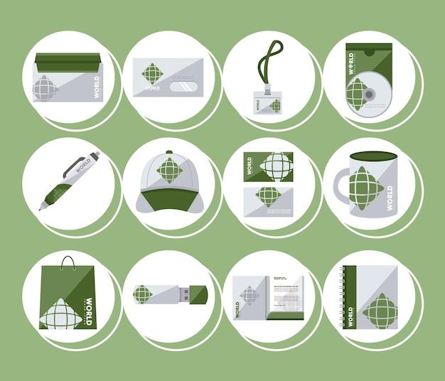 Coleção de ícones de identidade corporativa
