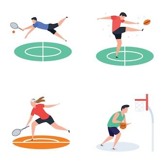 Coleção de ícones de jogador de futebol, críquete, hóquei, esportes