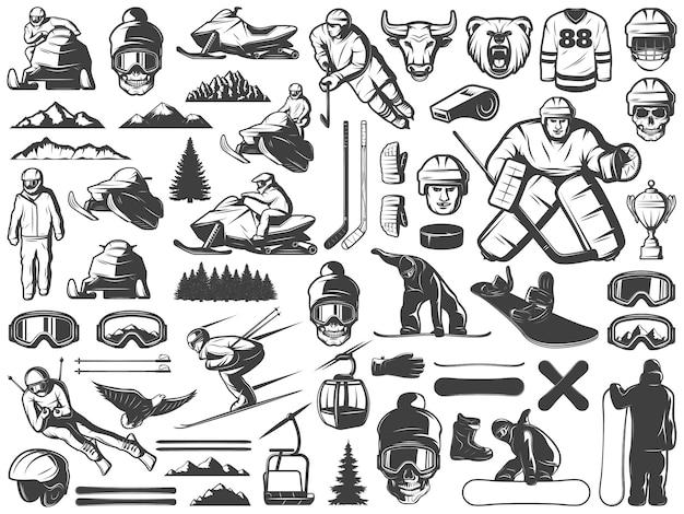 Coleção de ícones de jogos de esportes de inverno vintage