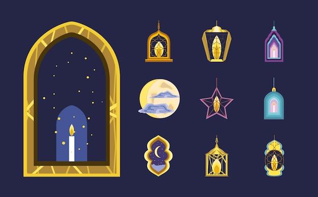 Coleção de ícones de lanternas árabes