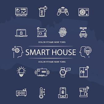 Coleção de ícones de linha casa inteligente