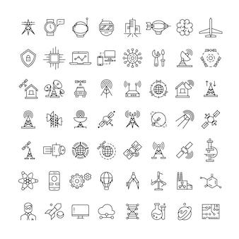 Coleção de ícones de linha de ciência, tecnologias e satélite