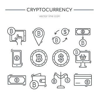 Coleção de ícones de linha de criptomoeda