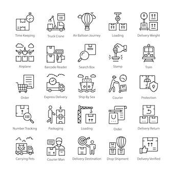 Coleção de ícones de linha de entrega de logística