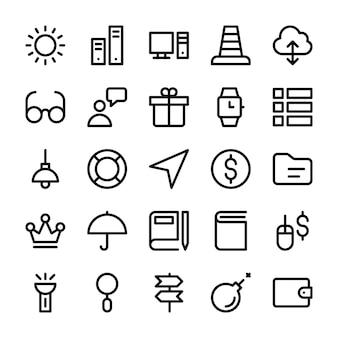 Coleção de ícones de linha de interface de usuário