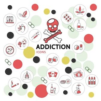 Coleção de ícones de linhas de vícios prejudiciais com crânio doente, pulmões, drogas, jogos de azar, cogumelos, narcótico