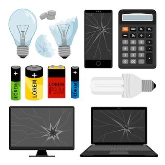 Coleção de ícones de lixo eletrônico, com baterias de notebook e lâmpada