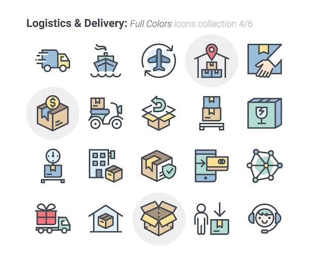 Coleção de ícones de logística e entrega 4