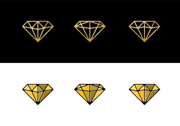 Coleção de ícones de logotipo de diamante de luxo