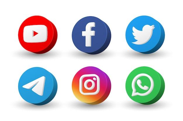 Coleção de ícones de logotipo de mídia social isolada em branco