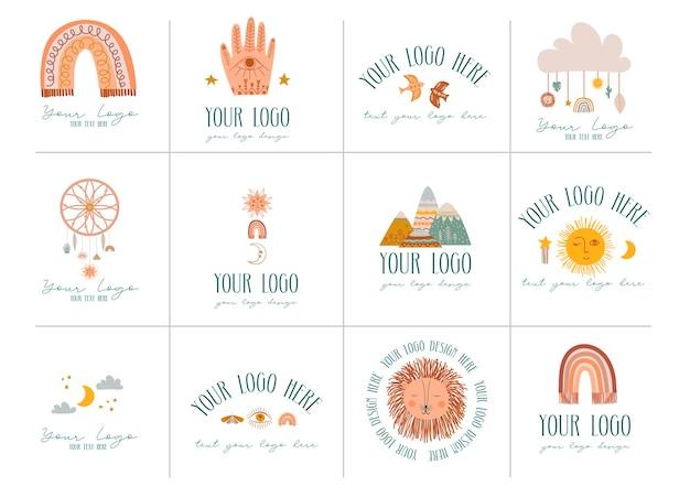 Coleção de ícones de logotipos de bebê decoração de berçário em estilo cartoon editável