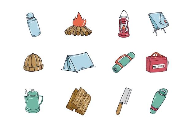 Coleção de ícones de mão desenhada camping