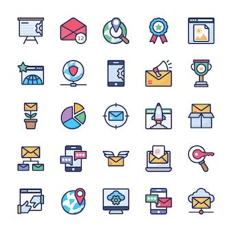 Coleção de ícones de marketing na internet