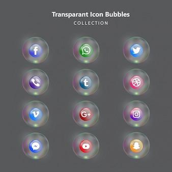 Coleção de ícones de mídia social na bolha transparente