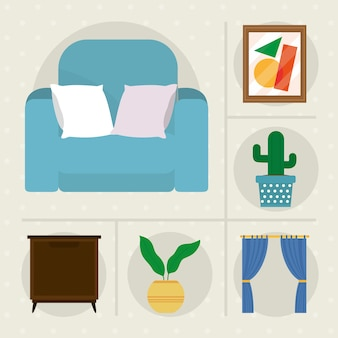 Coleção de ícones de móveis decorativos para casa