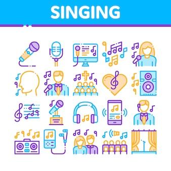 Coleção de ícones de música cantando