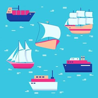 Coleção de ícones de navios e barcos
