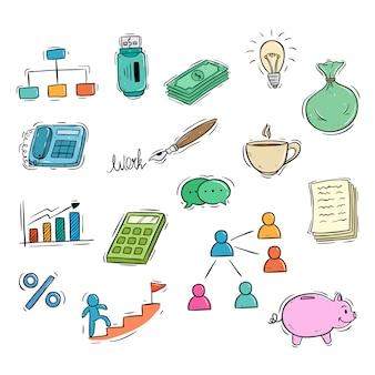 Coleção de ícones de negócios com estilo doodle colorido