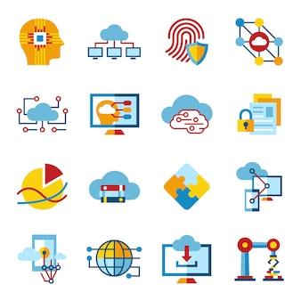 Coleção de ícones de nuvem de inteligência artificial