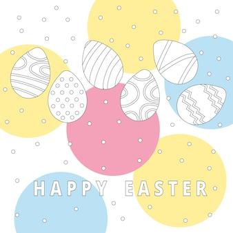Coleção de ícones de ovos de páscoa em estilo doodle. ilustração de mão desenhada. fundo do banner.