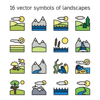 Coleção de ícones de paisagem. símbolos da natureza e paysages em forma de retângulo.