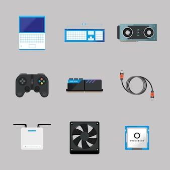 Coleção de ícones de peças de computador