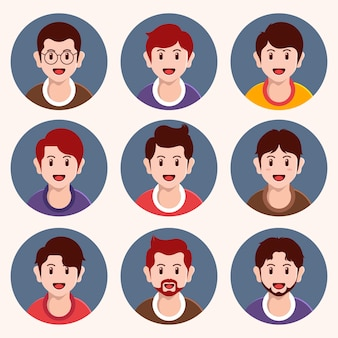 Coleção de ícones de perfil de design plano criativo