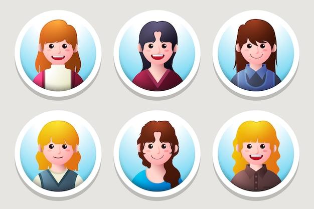Coleção de ícones de perfil de gradiente criativo