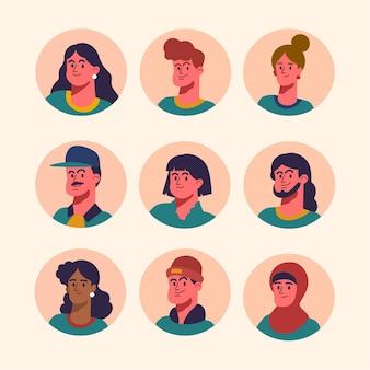 Coleção de ícones de perfil plano desenhado à mão