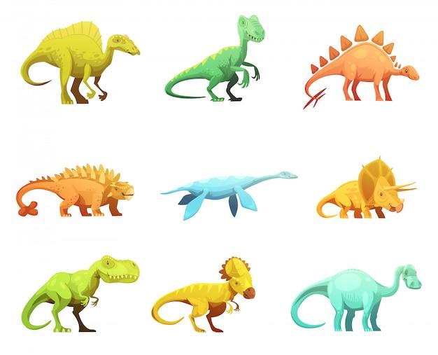 Coleção de ícones de personagens de desenhos animados retrô dinosaurus