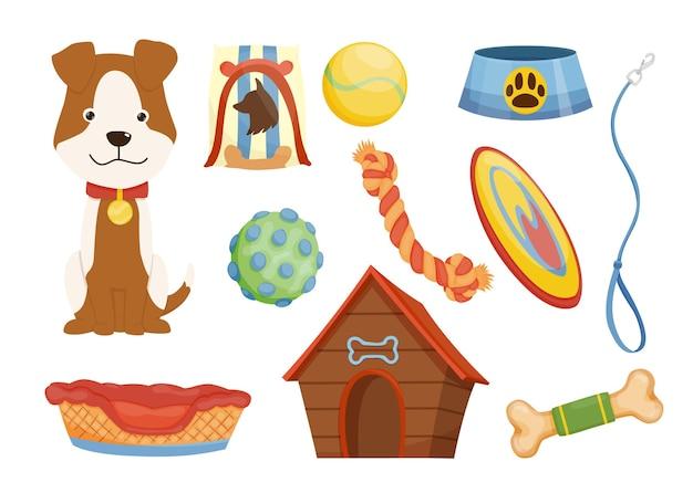 Coleção de ícones de pet shop. coleira de cachorro. acessórios de fornecimento de pet care e produtos decorativos.