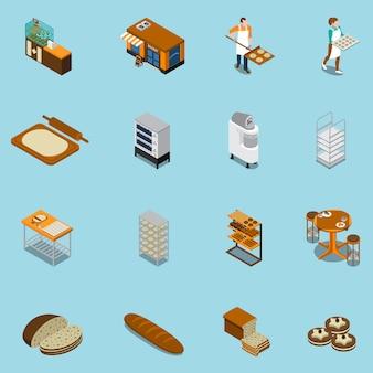Coleção de ícones de produção de padaria