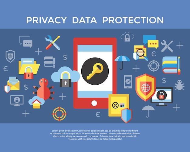 Coleção de ícones de proteção de dados