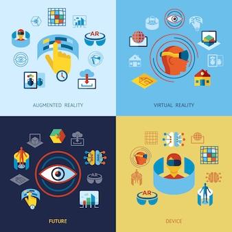 Coleção de ícones de realidade aumentada e virtual