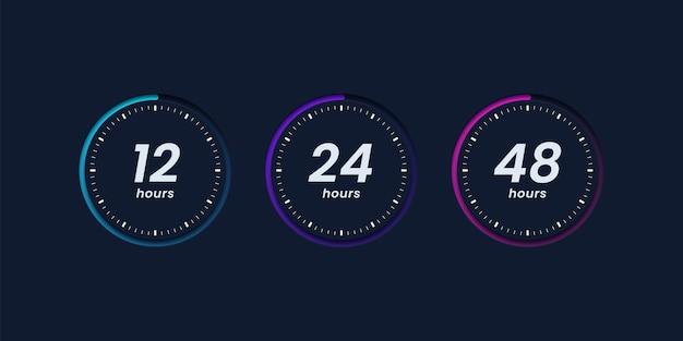Coleção de ícones de relógio de horas