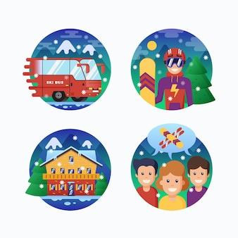 Coleção de ícones de resort de esqui ou snowboard.
