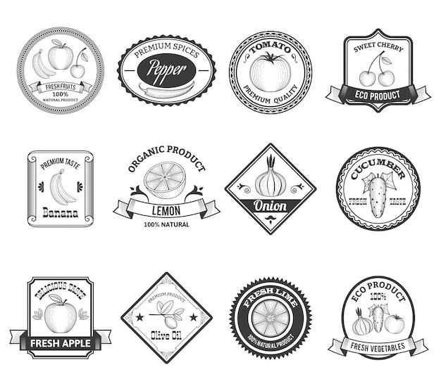 Coleção de ícones de rótulos de frutas