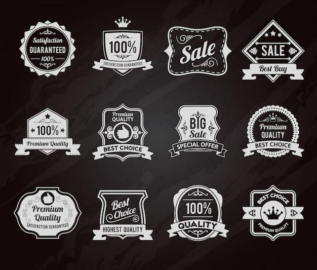 Coleção de ícones de rótulos de vendas de lousa