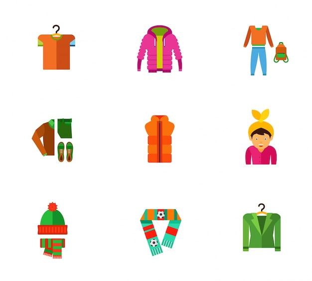 Coleção de ícones de roupas de inverno