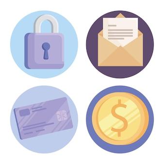 Coleção de ícones de segurança cibernética