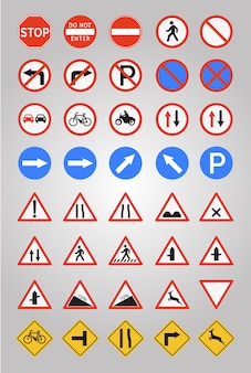 Coleção de ícones de sinais rodoviários