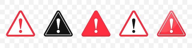Coleção de ícones de sinal de perigo. conjunto de ícones de sinal de atenção em vermelho. ilustração vetorial