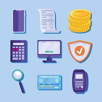 Coleção de ícones de soluções de pagamento