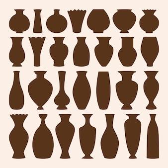 Coleção de ícones de taças antigas. vaso e ânfora